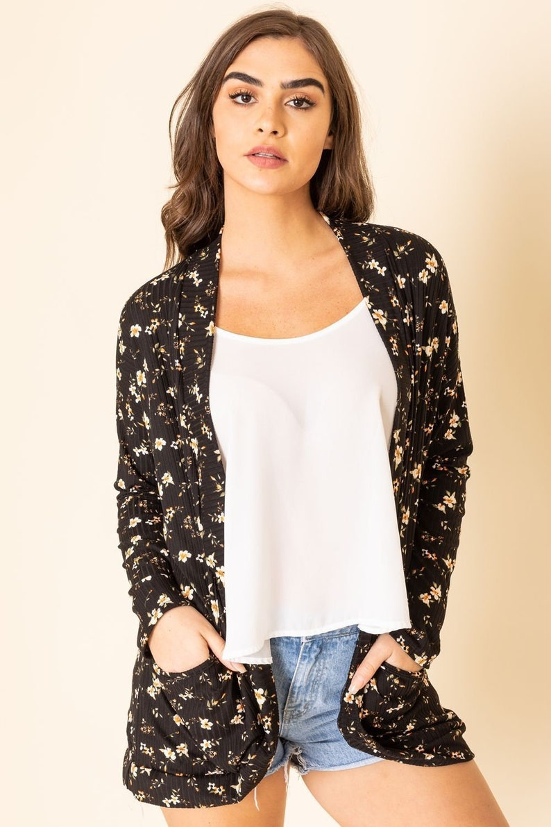 2 Colors Ditsy Floral Ribbed Slouch Cardigan