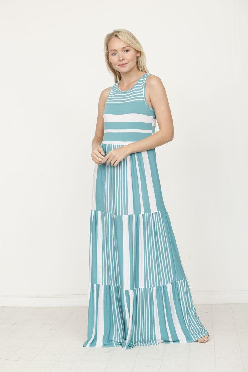 20ea367ef76 Stripe Tiered Maxi Dress