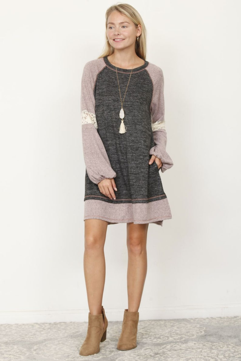 Two Tone Lace Accent Bishop Sleeve Dress