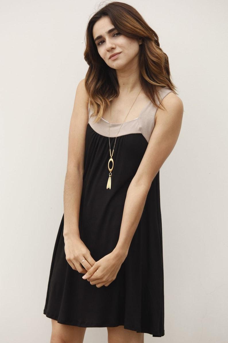 Black /& Mocha Sleeveless Mini Dress