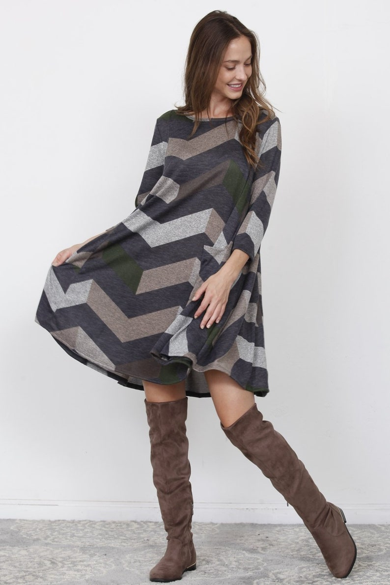 Charcoal Olive Chevron A-Line Mini Dress/_Plus