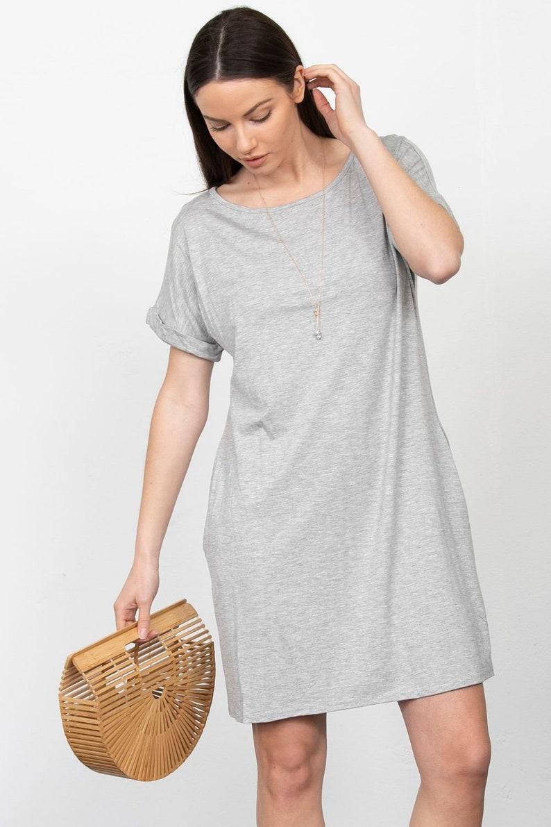 Cuff Sleeve Shift Mini Dress