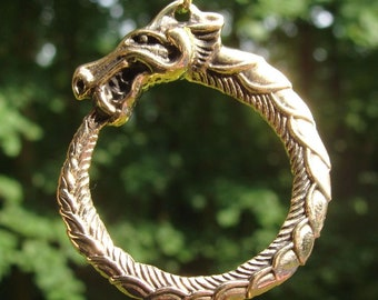 Jormungandr Bronze Pendant Snake from Midgard Necklace Amulet Talisman Historical Medieval Fantasy LARP SCA Casted Handmade Viking