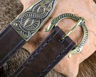Brown Leather BELT with Animal Beast Head Buckle Viking Borre Art Style Historical Norse Replica Larp Sca Pagan Accessory