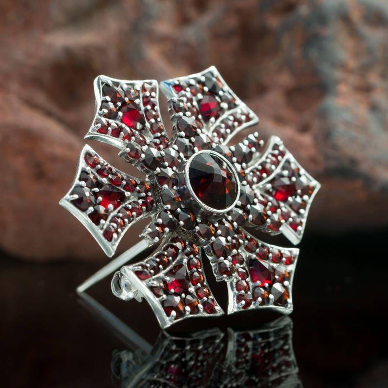 Gothica GARNET Czech Jewel Sterling SILVER BROOCH Sterling Ag image 0