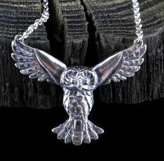 Owl in flight  English Pewter Pendant