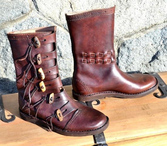 païen vivant VIKING Viking bottes Costume Vikings cuir en réplique début moyen chaussure histoire du âge reconstitution chaussures nordique médiéval 4LAj5q3R