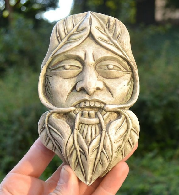 Estatuilla De Resina Greenman cara placa de pared