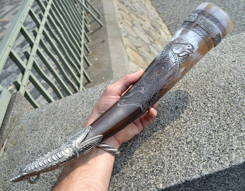 SIGURD Viking King Drinking Horn carved Horns Carved Vikings Norse  Decorated Pagan Cup SCA Larp Re-enactment Warrior Nordic Equipment