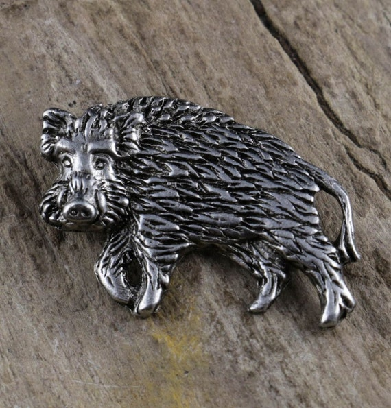 Pig Pewter Motif Belt Buckle and Leather Belt in Gift Tin Ideal Wildlife Gift