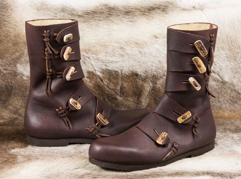 RASMUS Viking Leather Shoes with Antler Buttons Boots Shoe image 1
