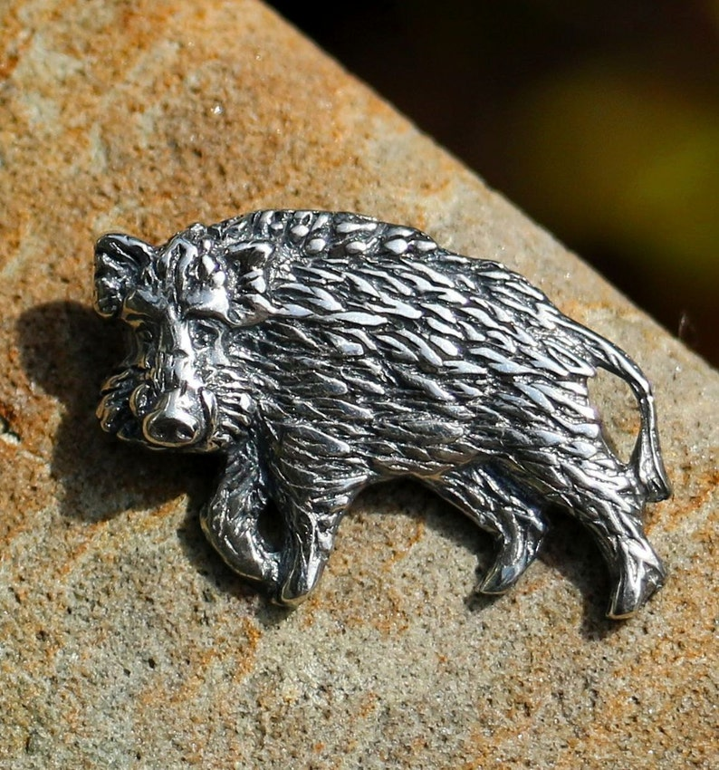 WILD BOAR Sterling Silver Pendant Animal Pig Folk Nature Boars Celtic  Necklace Amulet Talisman Jewel Jewellery Jewellry Jewelry Forest