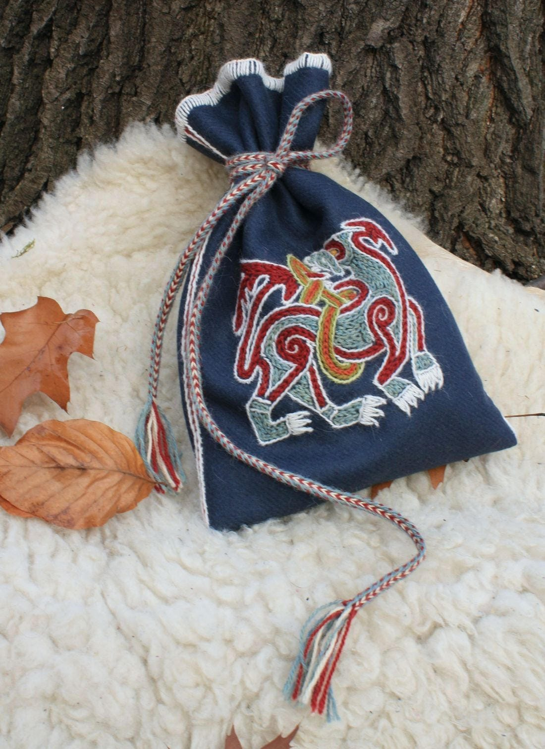 VIKING POUCH TEXTILE Mammen Art Denmark Viking Beast Vikings Pagan Pagans Costume Accessory Coin Bag Sca Living History Early Middle Ages