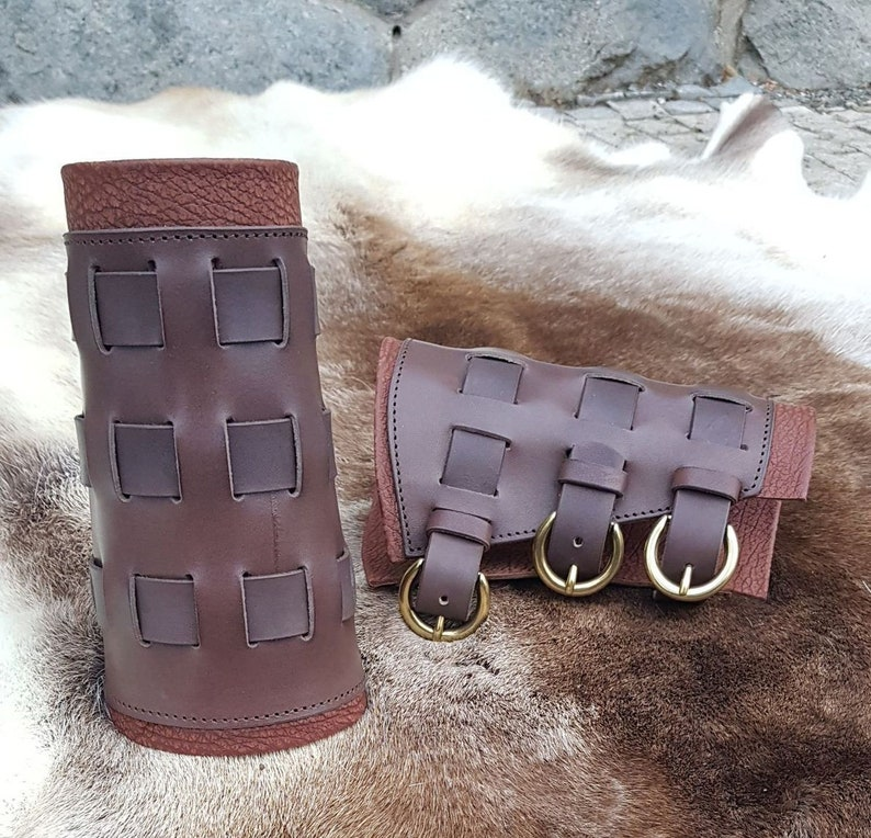 Genuine LEATHER BRACERS with Metal Buckles Pair Larp Living History Handmade Leather Armour Armor Fighting Rock Metal Goth Accessory