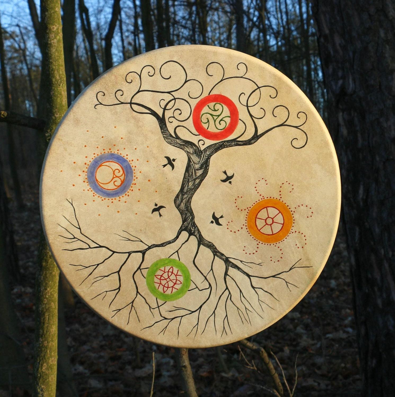 TREE OF LIFE Shaman Frame Drum Celtic Drums 4 Nature Elements   Etsy