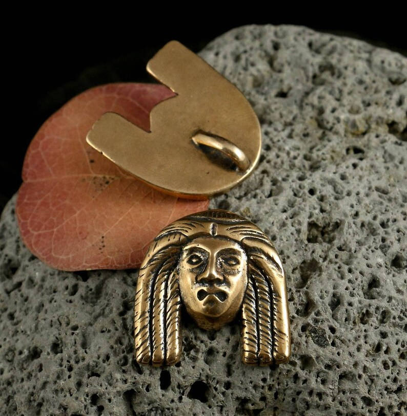 ANCIENT HEAD Bronze Pendant Face Historical Handmade Casted Necklace Charm Luck