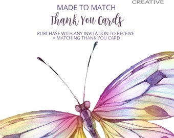 Made to Match Thank You Card, Made to match any of my invitation designs, digital file only!