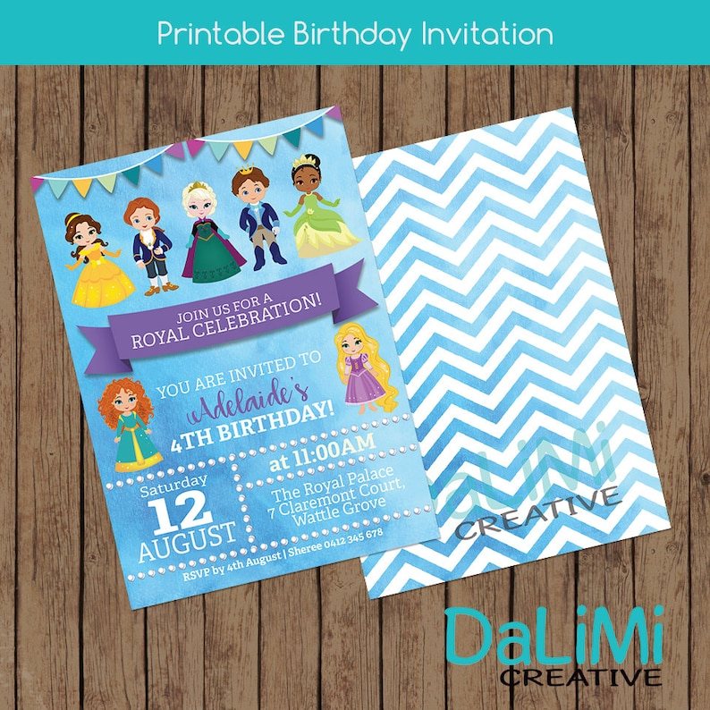 Princess and Prince Invitation  Birthday Invitation  Unisex image 0
