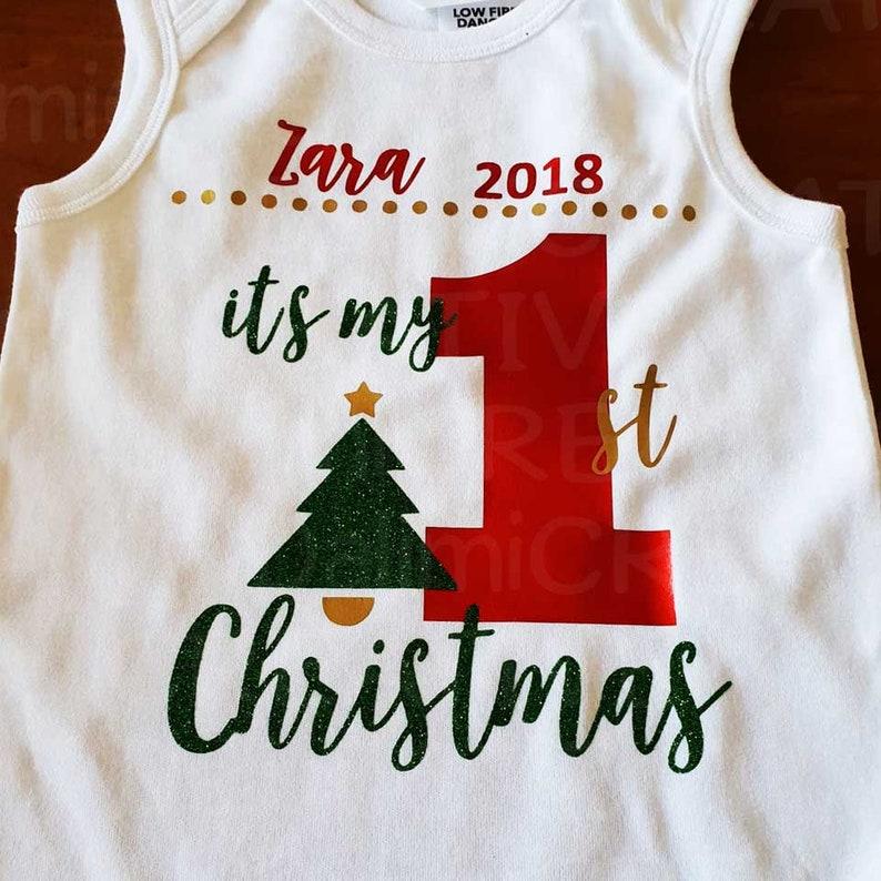 My First Christmas! Newborn Clothes Christmas Baby Bodysuit Babies First Christmas Onesie Bodysuit Glitter Vinyl Bodysuit