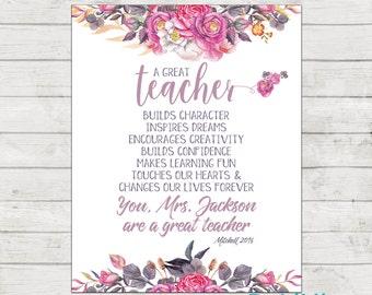 Teacher Appreciation Print - End of Year Teachers Gift - Personalised Teachers Gift - A Great Teacher - Printable File!