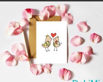 Valentine's Card - Anniversary - Romantic - Just Because - Greeting Card - Love Birds!