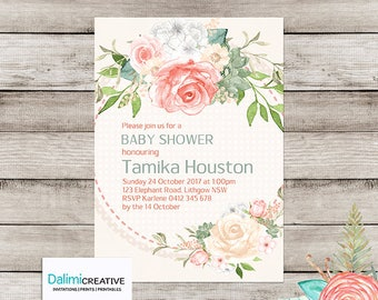 Baby Shower Invitation - Floral Shower Invitation - Floral Baby Shower Invitation - Printable Invitation - Personalised - Digital File!