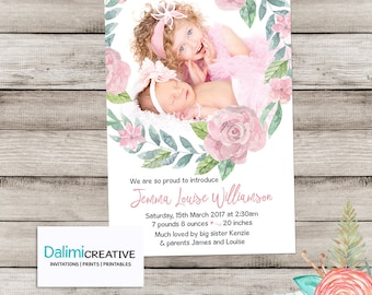 Birth Announcement Card for Newborn Baby Girl - Custom Birth Announcement Card - Baby Announcement Card - Personalised - Thank you Card