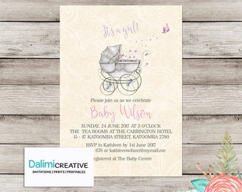 DIY Printable Baby Shower Invitation - Boy or Girl Baby Shower Invitation - Elegant Shower Invitation - Champagne Lace Invitation!