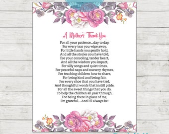 Teacher Appreciation Print - End of Year Teachers Gift - Childcare Teachers Gift - Instant Download Digital File - A Mothers Thank You!