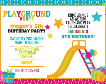 Playground Birthday Invitation - Playground Invitation - Playground Birthday - Park Birthday - Park Invitation - Printable Invitation!