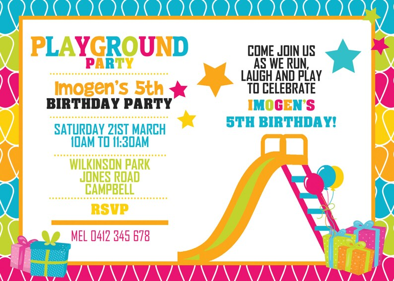 Playground Birthday Invitation  Playground Invitation  image 0