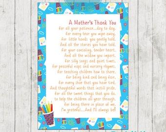 Teacher Appreciation Print - End of Year Teachers Gift - Childcare Teachers Gift - Digital File - A Mothers Thank You!
