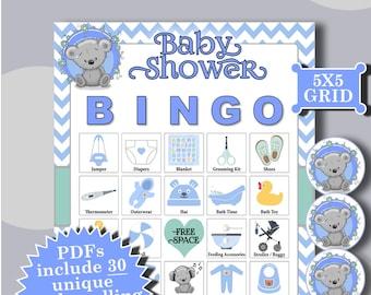 BABY SHOWER BOY - Teddy 5x5 Bingo (30 Cards) printable PDFs contain everything you need to play Bingo.