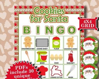 Cookies for Santa 4x4 Bingo printable PDFs contain everything you need to play Bingo.