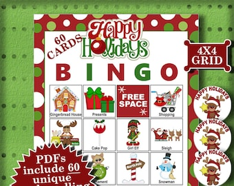 Happy Holidays 4x4 Bingo 60 Cards printable PDFs contain everything you need to play Bingo.
