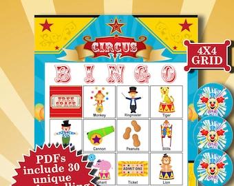 Circus 4x4 Bingo printable PDFs contain everything you need to play Bingo.