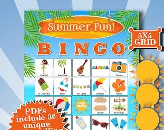 SUMMER FUN 5x5 Bingo printable PDFs contain everything you need to play Bingo.