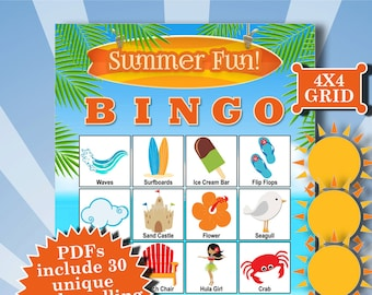 SUMMER FUN 4x4 Bingo printable PDFs contain everything you need to play Bingo.