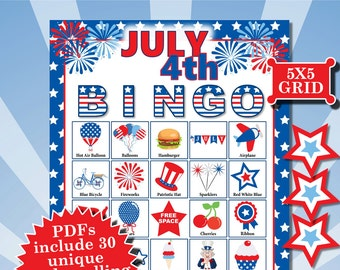 JULY 4TH 5x5 Bingo printable PDFs contain everything you need to play Bingo.