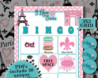 I LOVE PARIS 3x3 Bingo printable PDFs contain everything you need to play Bingo.