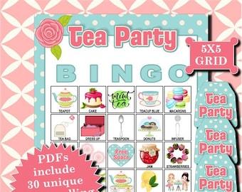 Tea Party 5x5 Bingo printable PDFs contain everything you need to play Bingo.