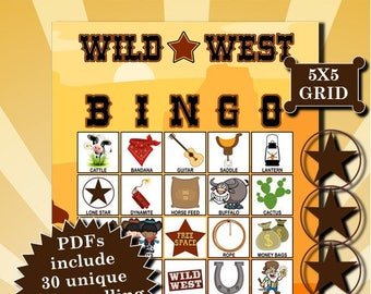 Wild West 5x5 Bingo printable PDFs contain everything you need to play Bingo.