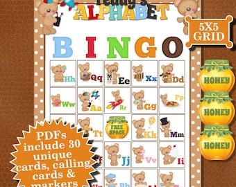 TEDDY'S ALPHABET 5x5 Bingo printable PDFs contain everything you need to play Bingo.