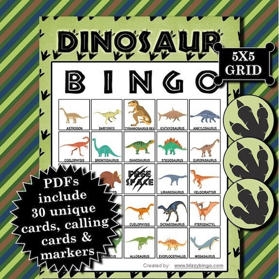 Dinosaur 5X5 Bingo printable PDFs contain everything you need to play Bingo.