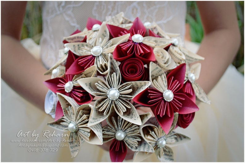 Custom Made Paper Flower Bridal Bouquets for Unique Weddings image 0