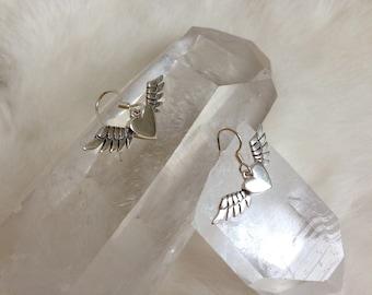 Winged Heart 925-Sterling Silver Earrings