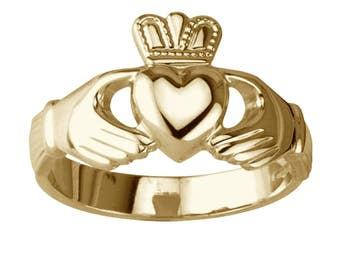 Original lourd Claddagh bague or 14 K