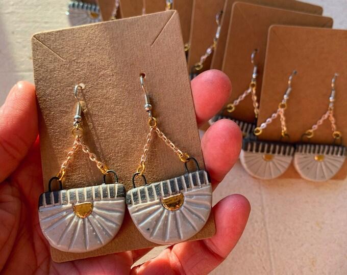 22k Gold Half Moon Drop Earrings