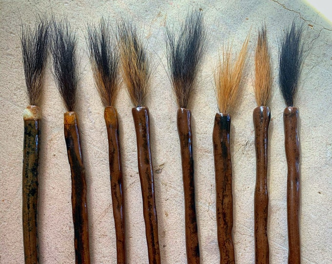 Ceramic Brushes with Mushroom - For Paint, Glazes, Watercolor, Sumi-e