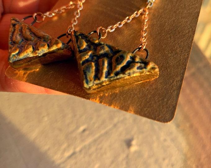 22k Golden Stone + Lace Triangle Earrings